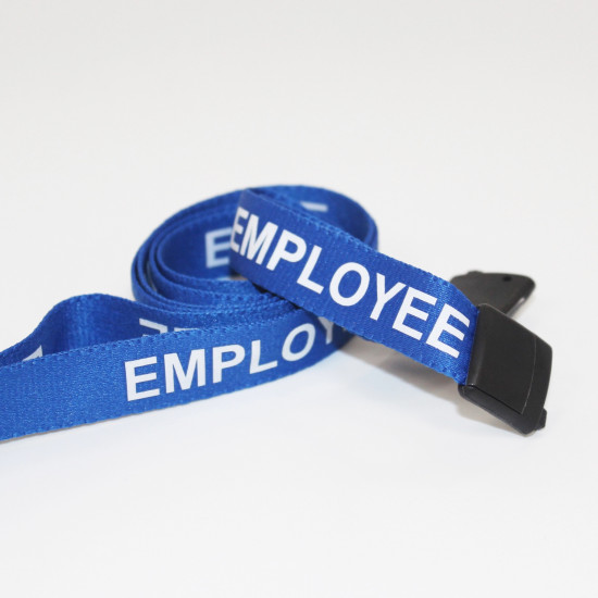 15mm Blue Employee Pre-Printed Breakaway Lanyard With Plastic Clip - pack of 100