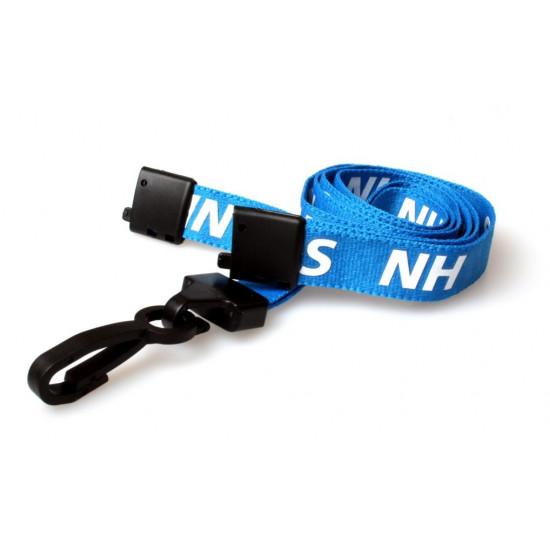 Pre-printed Blue NHS Lanyard with Black Plastic Clip
