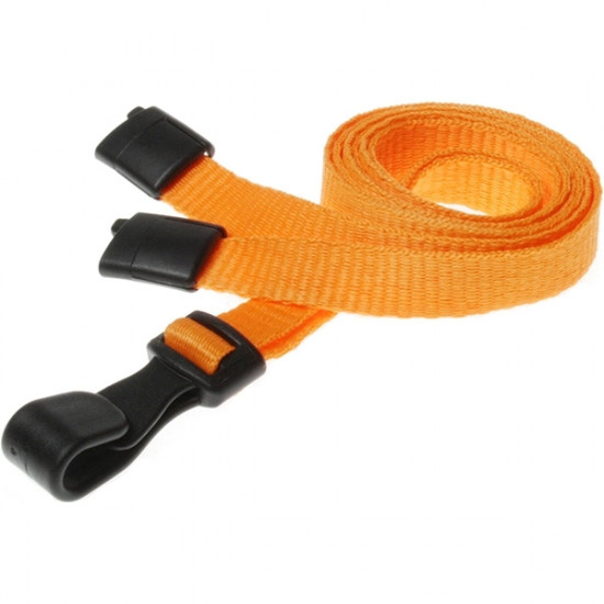10mm Orange Lanyards With Safety Breakaway And Plastic Clip - pack of 100