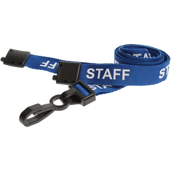 15mm Blue Staff Pre-Printed Breakaway Lanyards with Plastic Clip - pack of 100