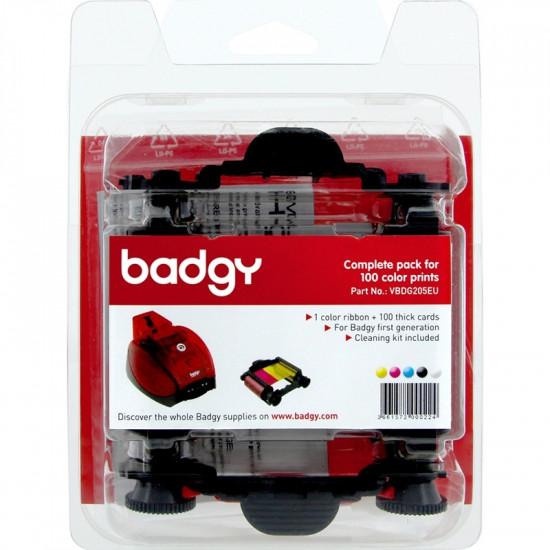 Badgy1 YMCKO Ribbon, 100 Cards and Cleaning Kit VBDG205EU
